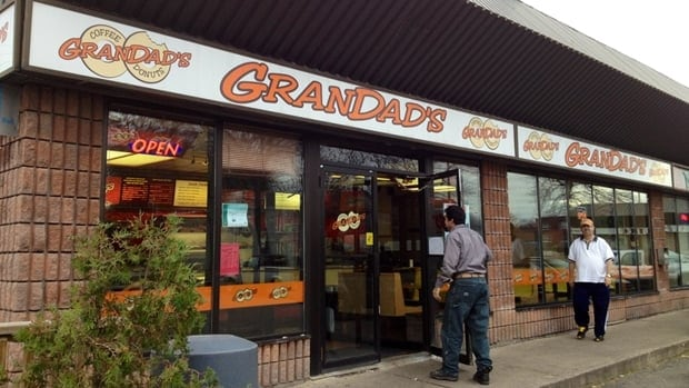 At Grandad's on James North at Burlington, they're up early to bake those doughnuts from scratch right on the premises, the way it used to be everywhere.