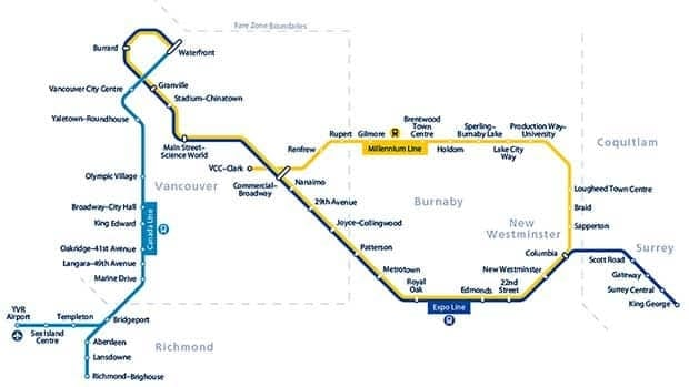 Metro Vancouver's SkyTrain and CanadaLine system.