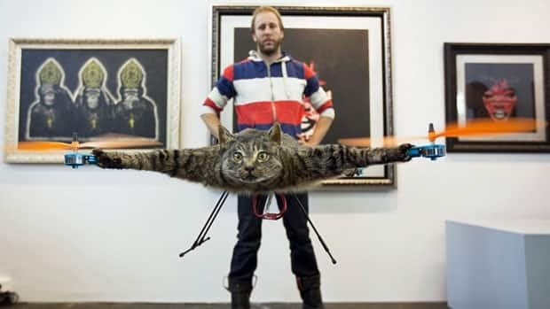 The Orvillecopter by Dutch artist Bart Jansen flies in a gallery as part of the KunstRAI art festival in Amsterdam.