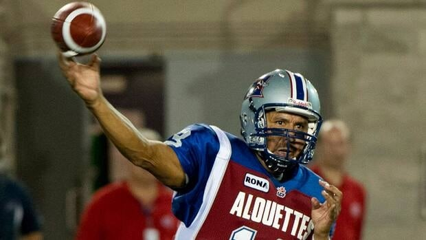Montreal Alouettes quarterback Anthony Calvillo fires Thursday against the Hamilton Tiger-Cats.