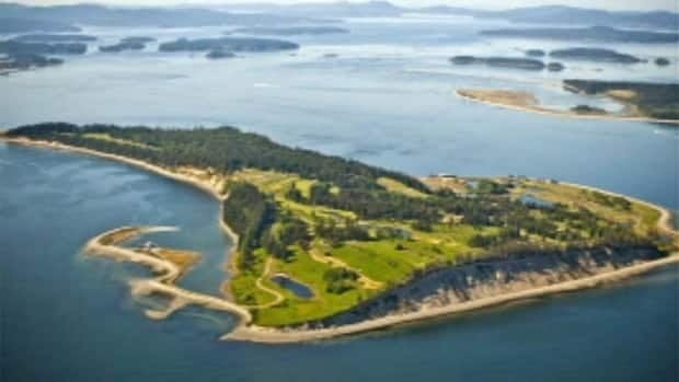 The exclusive enclave of James Island, B.C., has been put on the market by its U.S. billionaire owner.