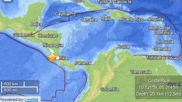 The U.S. Geological Survey said the quake was centred in the Guanacaste region, 61 kilometres away from the city of Liberia.