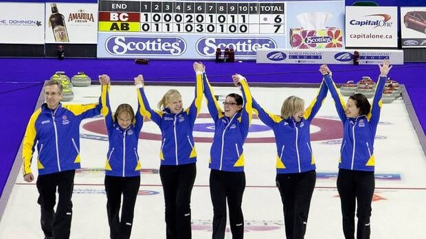 Alberta skip Heather Nedohin, right to left, celebrates her gold medal win over British Columbia with her teammates third Beth Iskiw, second Jessica Mair, lead Laine Peters, alternate Amy Nixon and coach Darryl Horne at the Scotties Tournament of Hearts in Red Deer, Alberta on Sunday.