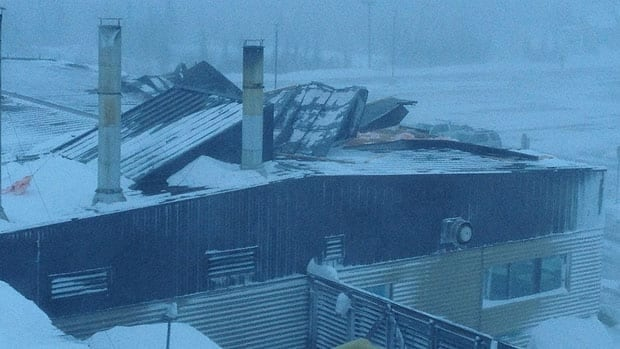 Parts of the Inuvik, N.W.T., airport seem to have been torn off during the high winds and snow in the region Tuesday.