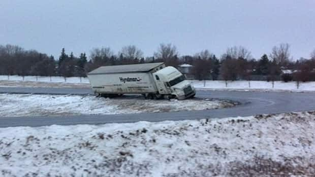 One of numerous semis found sliding off Regina's roads on Sunday morning.