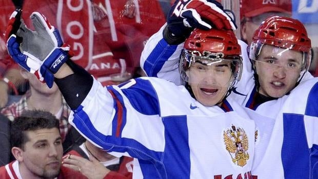 Russian forward Nail Yakupov, left,  had 21 goals and 53 points in 26 games for the Sarnia Sting of the Ontario Hockey League prior to suffering a knee injury at the recent world junior championship.