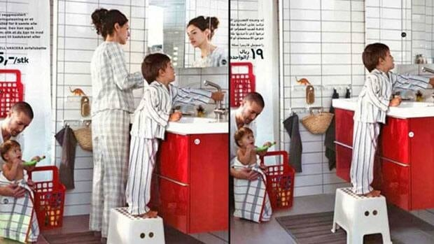 The woman in the Ikea catalogue, left, was airbrushed from the Saudi version of the furniture maker's catalogue, right, a move that the company says it now regrets.