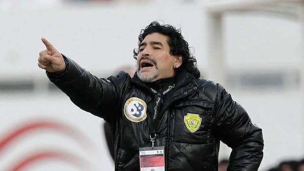 Diego Maradona gestures during the Etisalat Pro-League soccer match between Al Wasal and Sharjah.
