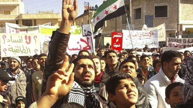 Demonstrators protest against Syria's President Bashar al-Assad after Friday prayers in Binsh near Idlib on Friday. In January,  the League pulled out its observer mission to Syria after it came under heavy criticism for failing to stop the bloodshed engulfing the country.