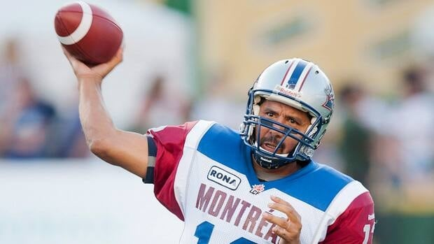 Montreal Alouettes quarterback Anthony Calvillo throws in the first half of the game against the Edmonton Eskimos.