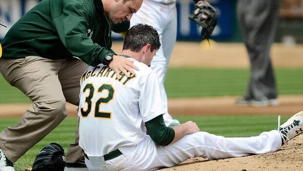 Athletics pitcher Brandon McCarthy was hit on the head by a line drive in September, causing a skull fracture and brain contusion that required surgery.