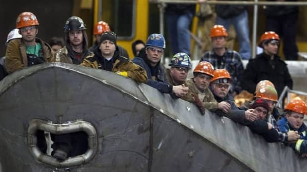 Workers at the Irving-owned Halifax Shipyard, which won right to build Canada's next generation of warships. It is the prime contractor on the frigate replacement program, expected to be worth more than $30 billion.