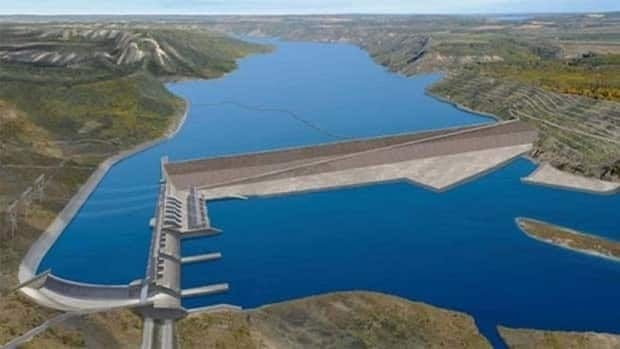 An artist's rendering shows how the Peace River's Site C dam would appear after completion.