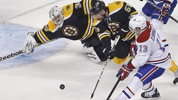 Montreal forward Mike Cammalleri, in his final game as a Hab, couldn't beat Boston goalie Tim Thomas on this play Thursday night.