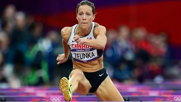 Canada's Jessica Zelinka competes in the women's hurdles at the London Olympics on Aug. 7.