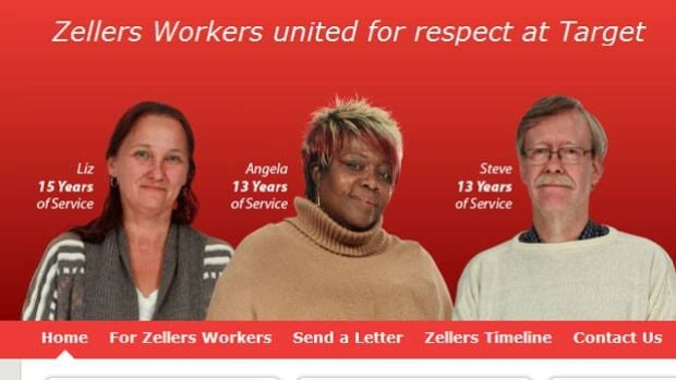 The United Food and Commercial Workers Union said former Zellers employees must re-apply for the same job at Target  — but at starting pay. They've launched a website to create awareness about and support for the issue.