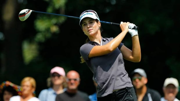 Beatriz Recari of Spain watches her tee shot on the fourth hole during the final round of the Marathon Classic on Sunday in Sylvania, Ohio. Recari topped Paula Creamer for the tournament victory.