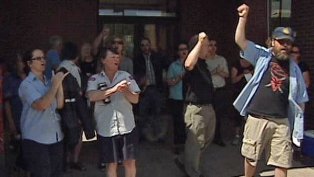 Canada Post workers protested in St. John's on Friday.