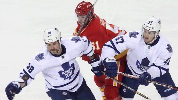Abbotsford Heat forward Roman Horak, seen here in action with the Calgary Flames against the Toronto Maple Leafs, centre, scored the Heat's winning goal against the Toronto Marlies on Sunday in American Hockey League action.