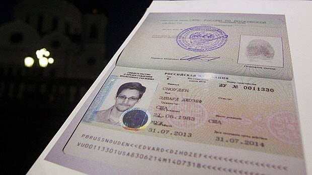 Freedom to travel? Edward Snowden's Russian refugee documents that allowed him to leave Moscow's international airport on Aug. 1.