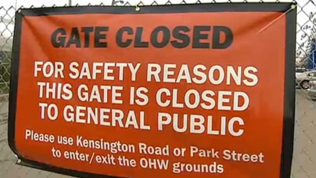 The gates are closed on Exhibition Drive.