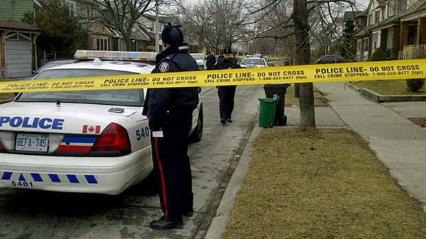 An area of Milverton Boulevard is cordoned off after a man was shot Friday morning by police.