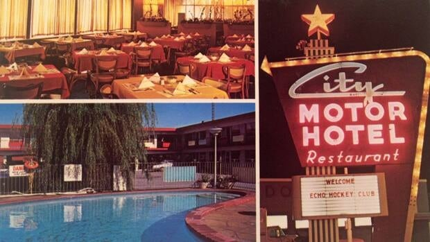 In this postcard from the early days, the dining room beckoned, the pool sparkled and the neon sign dazzled all night long.