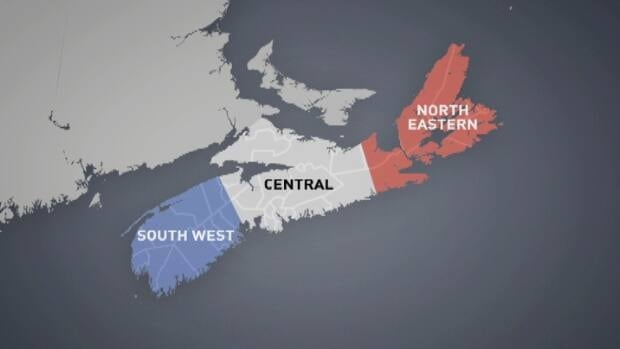 These are the three proposed Acadian regions in Nova Scotia.