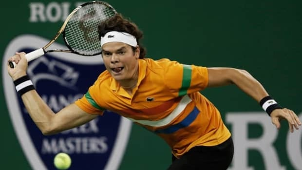 Milos Raonic of Thornhill, Ont., prepares to hit a forehand shot at the Shanghai Rolex Masters.