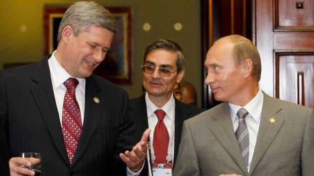 Prime Minister Stephen Harper, left, and Russian President Vladimir Putin, right, won't be facing off in two hockey exhibitions.