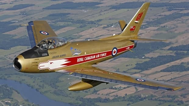 A restored F-86 Sabre jet fighter, dressed up in the colours of the Golden Hawks air demonstration team, will be flown at Prince Albert's air show this weekend.