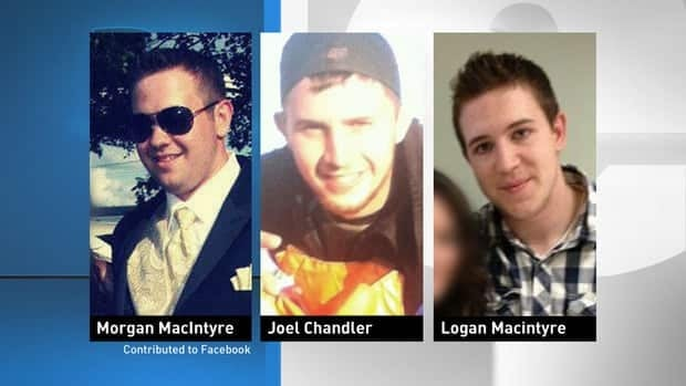 Logan Patrick MacIntyre, 17, Morgan Christopher MacIntyre, 19, and Joel Cecil Chandler, 20, from Port Hood died when the car they were travelling in went off the road and flipped over. (CBC)