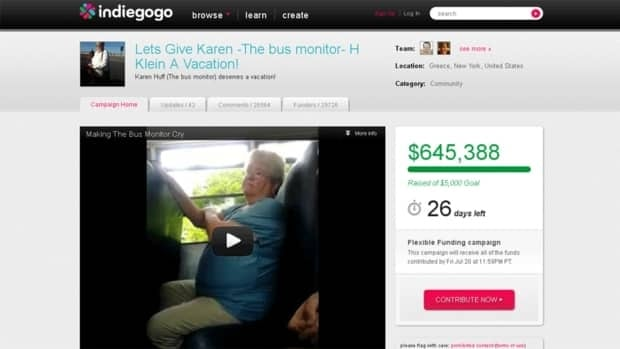 A screen shot of a page on the crowdfunding website Indiegogo devoted to raising money for Karen Klein, a 68-year-old grandmother in upstate New York who was bullied by the children on the school bus on which she worked as a bus monitor. As of Monday morning, the campaign had raised $645,388 for Klein.
