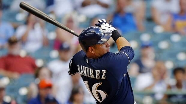 Milwaukee Brewers' Aramis Ramirez watches his two-run home run off Miami Marlins' Heath Bell during the 10th inning Tuesday.