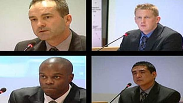 In June, the B.C. Criminal Justice Branch announced perjury charges against, clockwise from top left, Const. Gerry Rundel, Const. Bill Bentley, Cpl. Monty Robinson and Const. Kwesi Millington in connection with their testimony at the Braidwood inquiry.