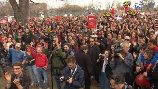 Thousands of people joined Saturday's march against tuition hikes.