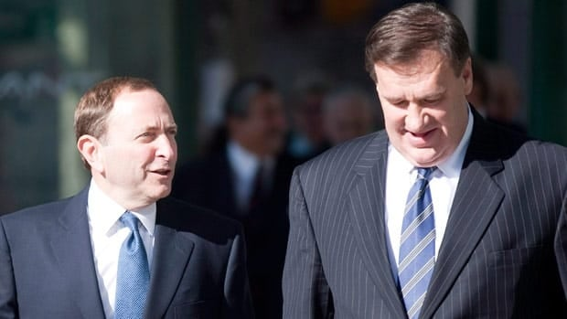 NHL commissioner Gary Bettman won't attend Tuesday's meeting, but Calgary Flames co-owner Murray Edwards, right, is expected to be present.