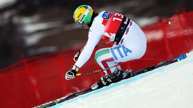 Italy's Dominik Paris speeds down the course during Friday's downhill training session.