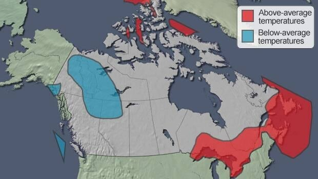 Normal seasonal temperatures for much of the country are shown in this winter's Environment Canada forecast map, except for the coloured areas: blue for below-normal temperatures and red for above-normal.