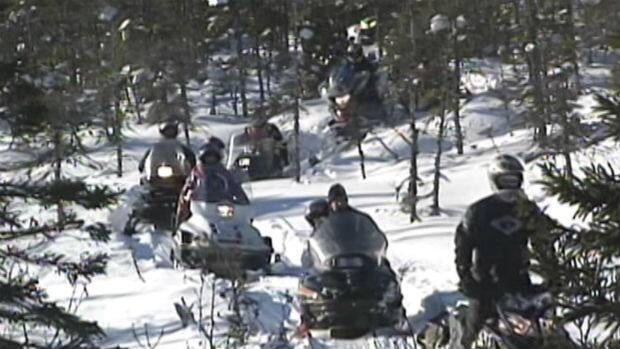 A group of snowmobilers took part in a February 2011 protest in Terra Nova National Park.