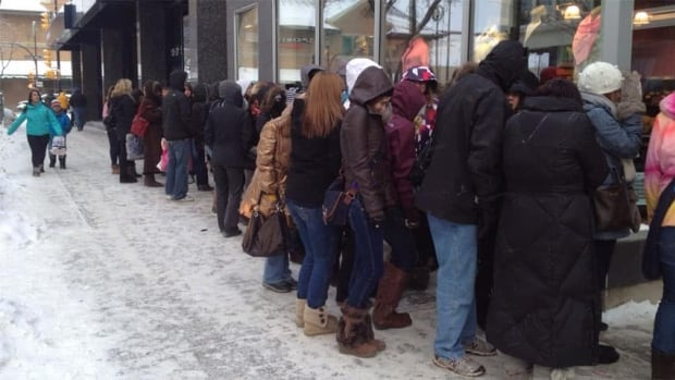About 50 people were lined up outside the Saskatoon Lululemon store on Boxing Day at around 10 a.m. CST.