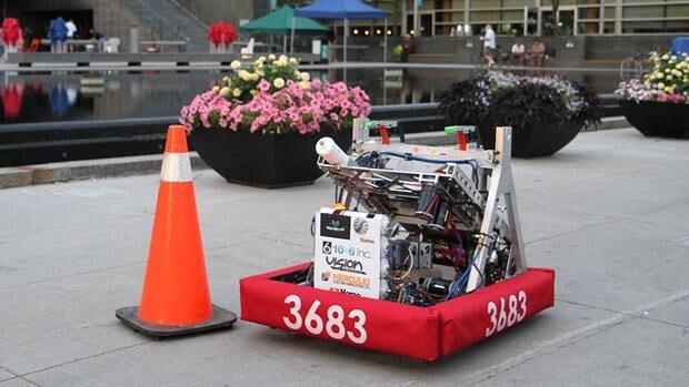 A team of high school students from Waterloo, Ontario's Saint David Catholic Secondary Schools designed and built Shuck, a frisbee-throwing robot for a Ontario tournament.