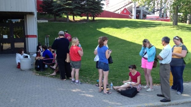Calgary flood victims lined up for financial assistance in June.