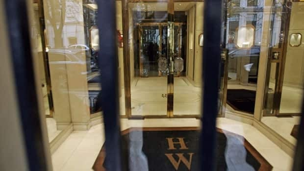 The entrance of the Harry Winston jewelry store near the Champs-Elysees in Paris. The firm is buying the Ekati diamond mine for $500 million US.