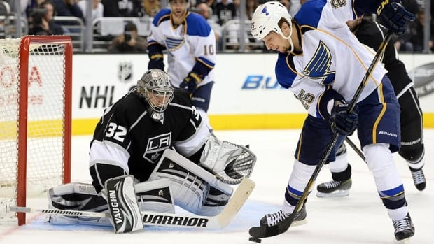 St. Louis Blues forward Chris Stewart, right, is stopped by Jonathan Quick of the Los Angeles Kings during Game Three of the Western Conference Quarterfinals. Stewart and the Blues avoided arbitration on Friday.