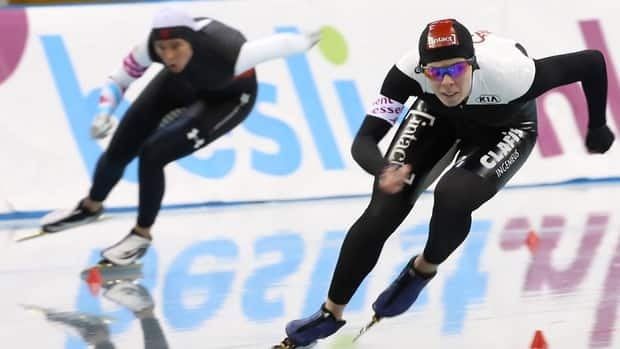 Christine Nesbitt of Canada, right, during the ISU World Cup Speedskating event on December 8, 2012 in Nagano, Japan.