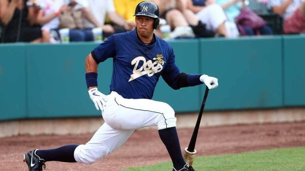 Alex Rodriguez hit .250 with two homers and eight RBIs in 13 minor league games before the leg injury.