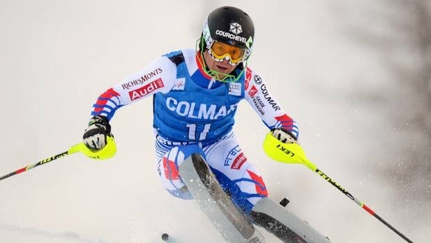 France's Alexis Pinturault during the first run of the FIS World Cup men's slalom on December 8, 2012 in Val d'Isere, France.