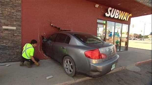 A car crashed through a Subway restaurant on 8th Street in Saskatoon.