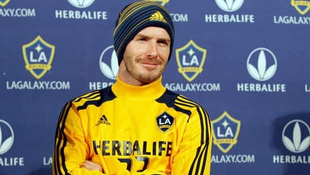 Los Angeles Galaxy's David Beckham smiles as he meets with reporters during a news conference in Carson, Calif. on Tuesday.